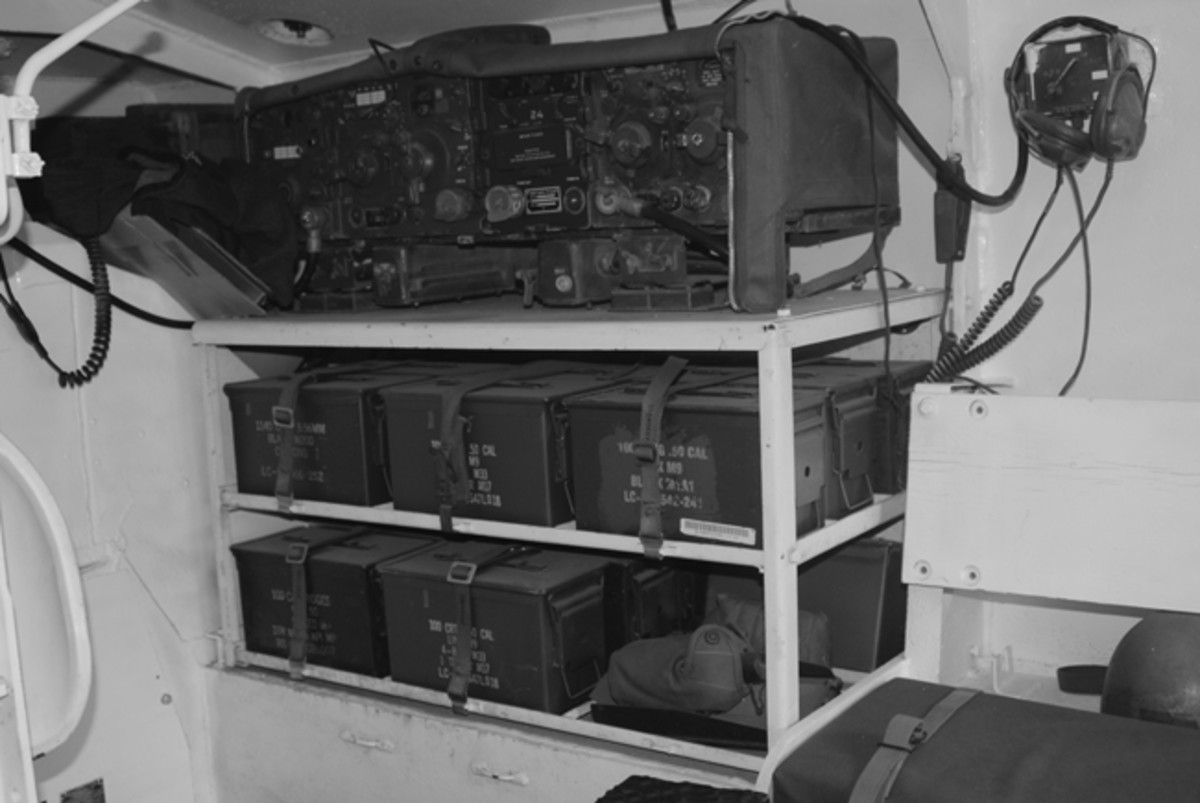 The front right side of the hull interior holds a full complement of communications gear.