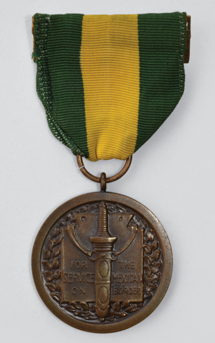 Mexican Border Service Medal authorized July 9, 1918, for National Guardsman who served on the Mexican Border in 1916-17 under the President's call.