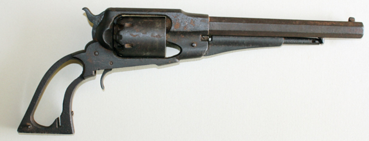 Firearms are rarely recovered from the Gettysburg battlefield. This Remington New Model Army Revolver was found in a barn at Hanover, Pa., where Union and Confederate cavalry clashed on June 30, 1863. The relic is valued at about $950. (Author's Collection)
