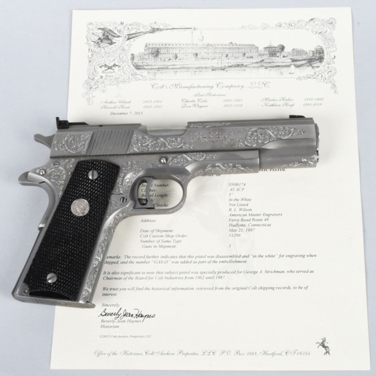 Colt Gold Cup National Match semi-automatic pistol in .45 ACP, specially made for George Strichman, Colt chairman of the board from 1962-1987, $9,300