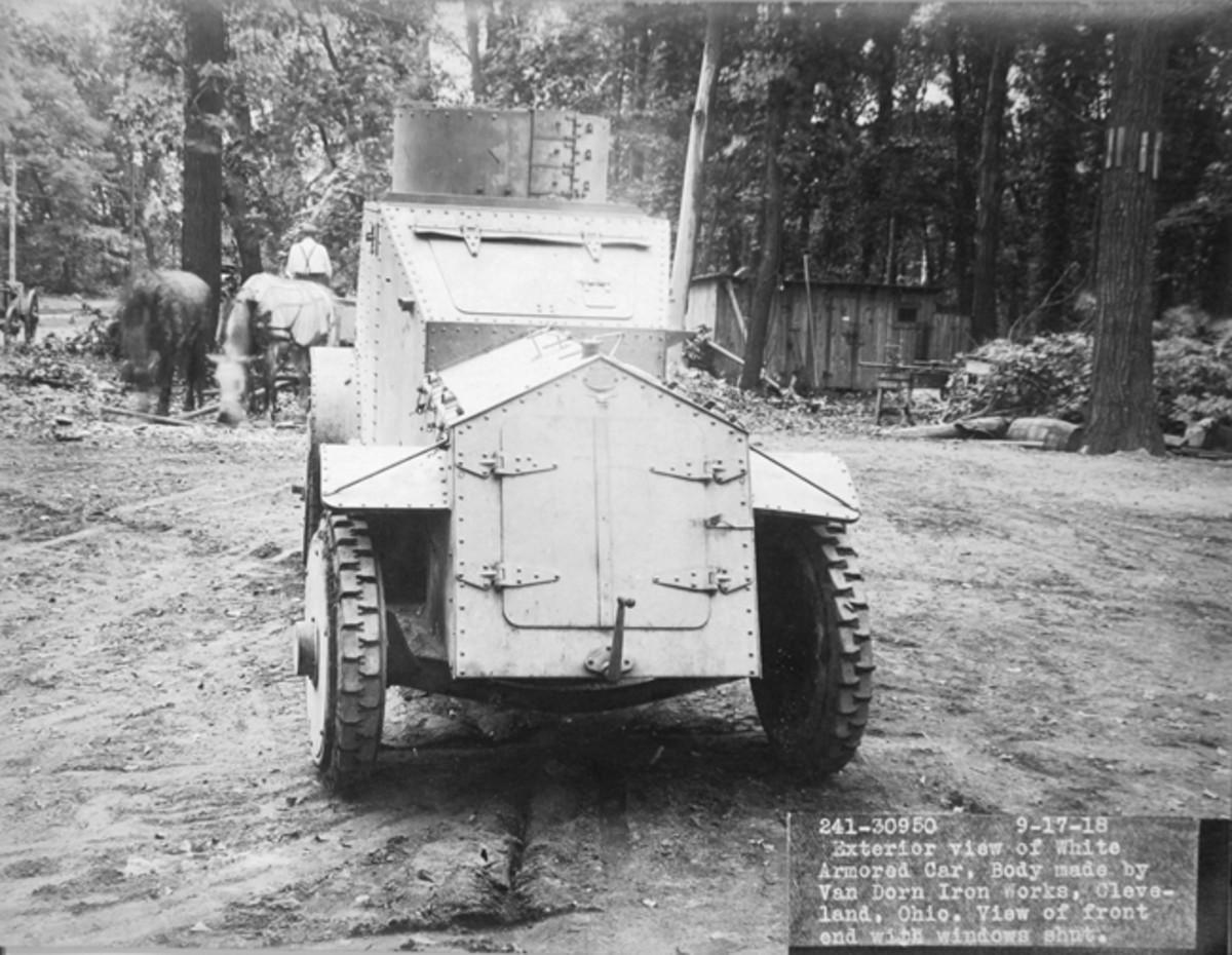 When confronted with enemy fire, the White/Van Dorn armored car was designed to be able to close up like a turtle in a shell.