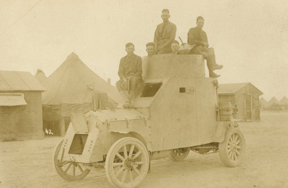 "White's second attempt to enter the armored car market was what the Army designated as ""Armored Car No. 2"" (an armored car built by Jeffrey bore the ""Armored Car No. 1"" title). The Army sent the prototype to Fort Sill, Oklahoma, for testing. Initially, each end of the rear axle carried a single, wide, 12-spoke wooden wheel shod with a hard rubber tire. Testing revealed these to be inadequate to carry the weight of the armored car."