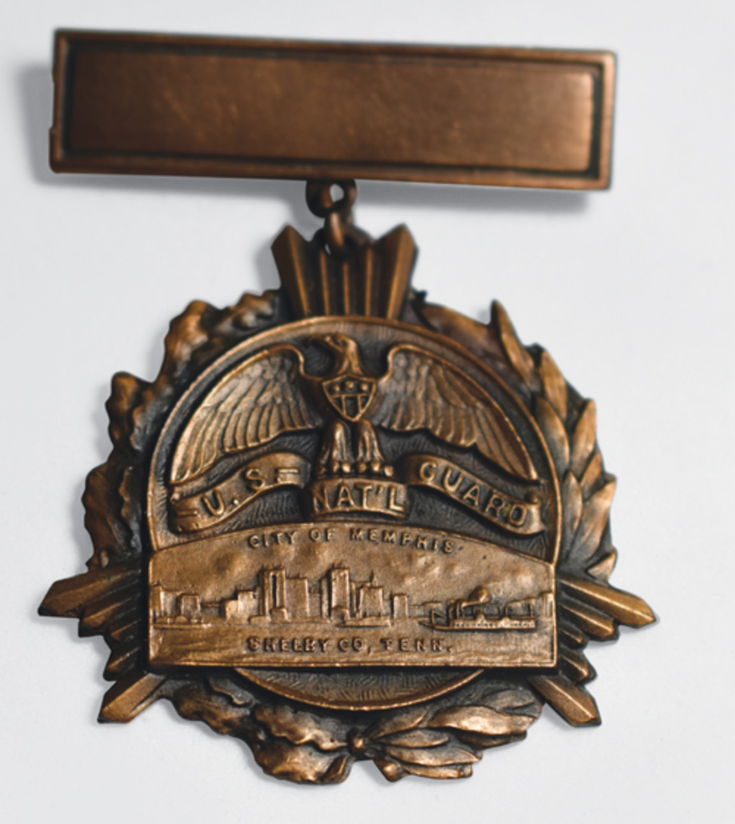 A classic example of a Whitehead-Hoag, Type 4 medal as used by a National Guard Regiment from Memphis, Tennessee.