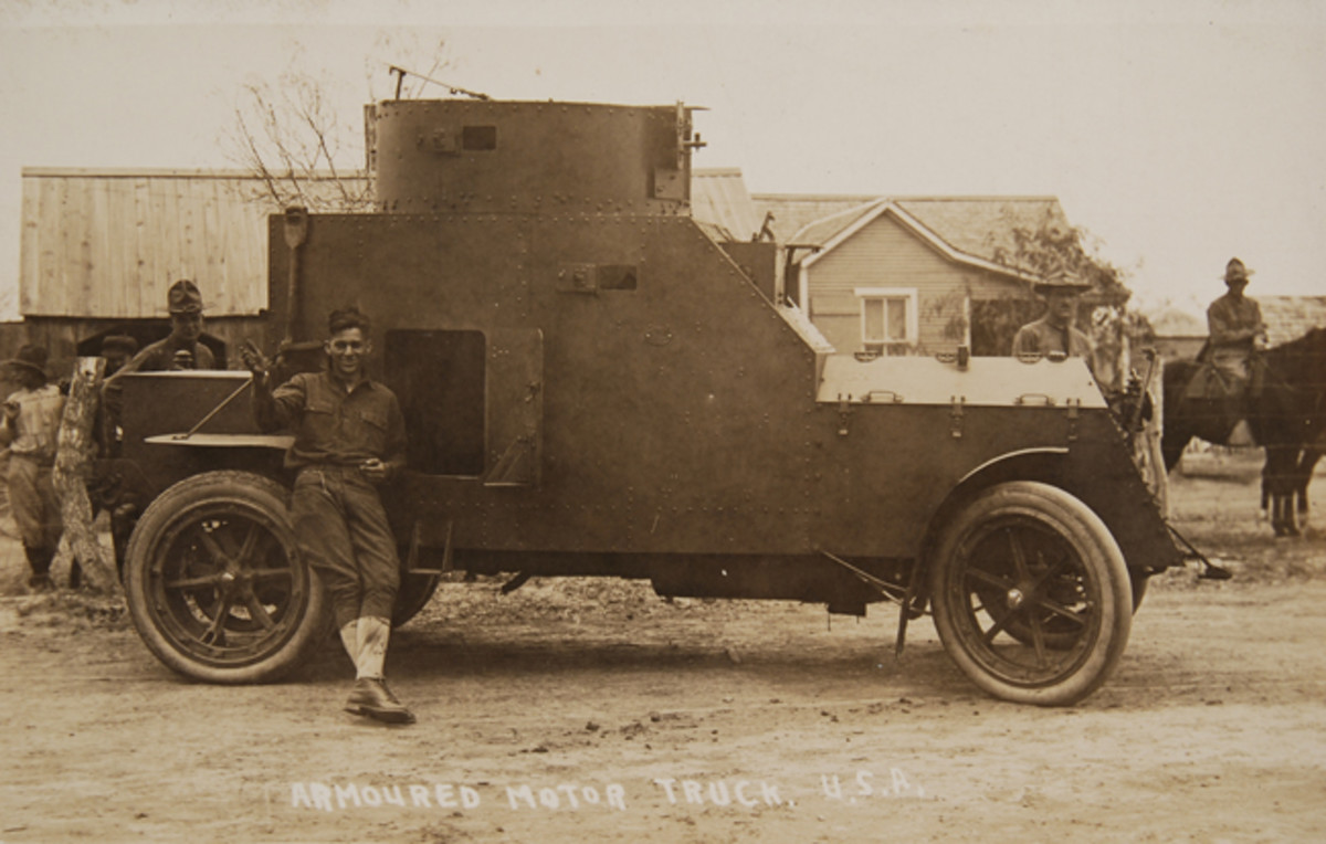 Rolling on pneumatic tires on the front and rear axles, Armored Car No. 2 was armed with a Benet-Mercie .30-caliber machine gun (just seen poking out of the turret) and deployed with troops on the US-Mexico border.