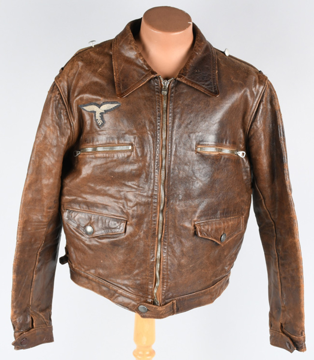 WWII Nazi German Luftwaffe ace pilot Josef Priller's leather flight jacket, $9,300