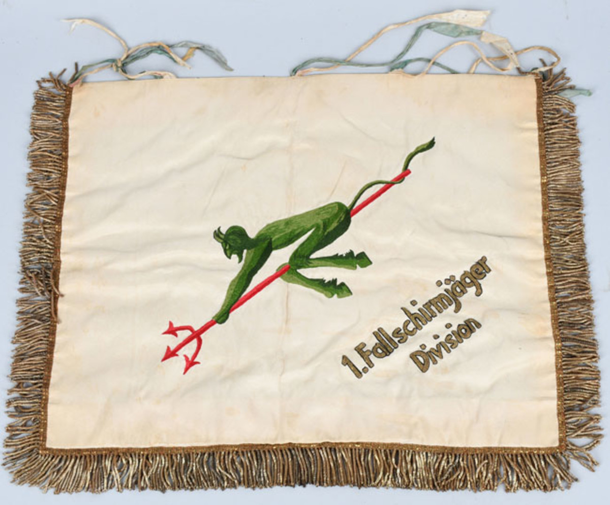 German World War II 1st Fallschirmjager Divisional trumpet banner, ex George Peterson collection, sold for $25,800 against a pre-sale estimate of $10,000-$15,00