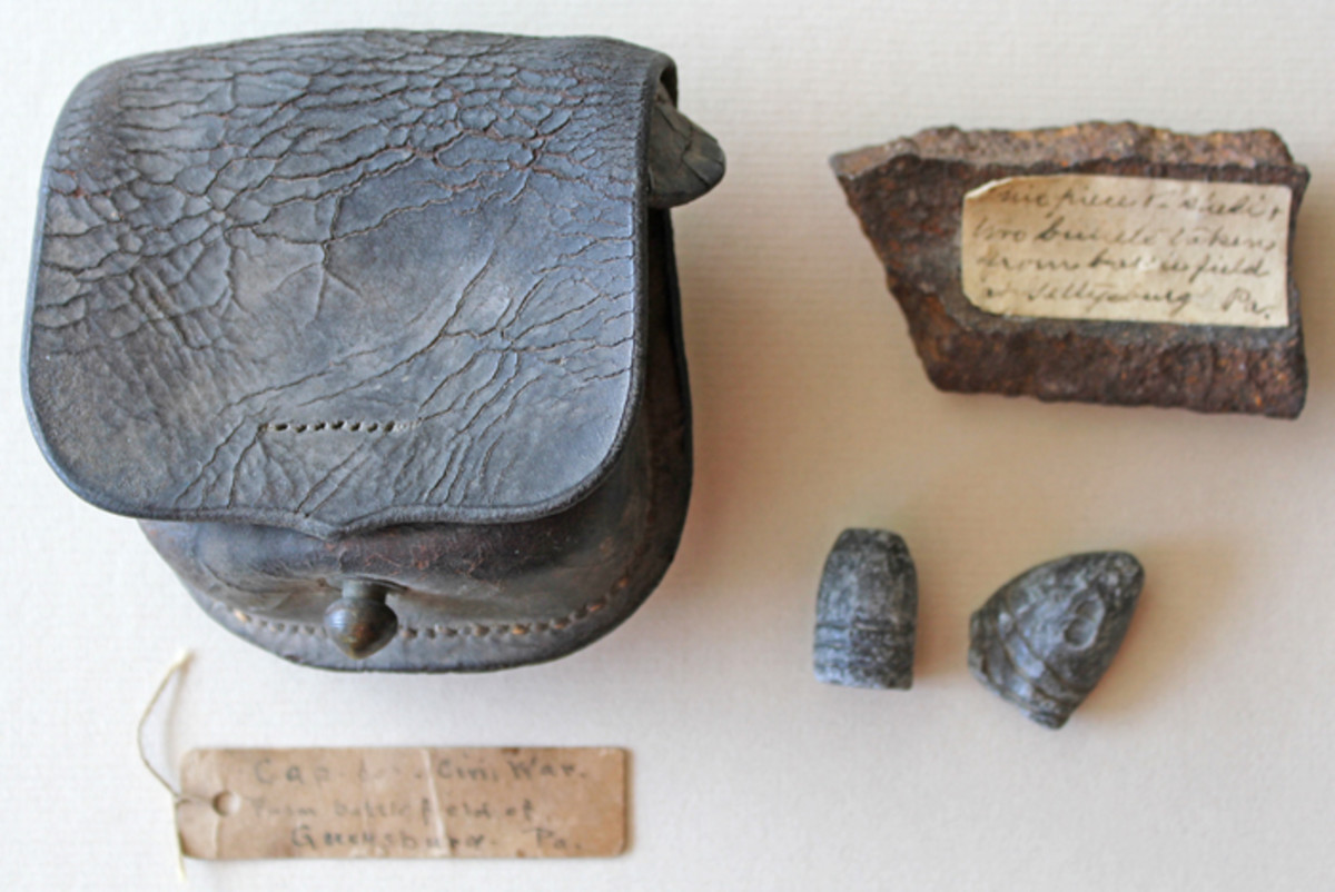 Union cap box recovered from the Gettysburg battlefield with old handwritten tag, artillery shell fragment labeled as being picked up from the battlefield and two early minie balls that were recovered in the immediate postwar years. (Author's Collection).