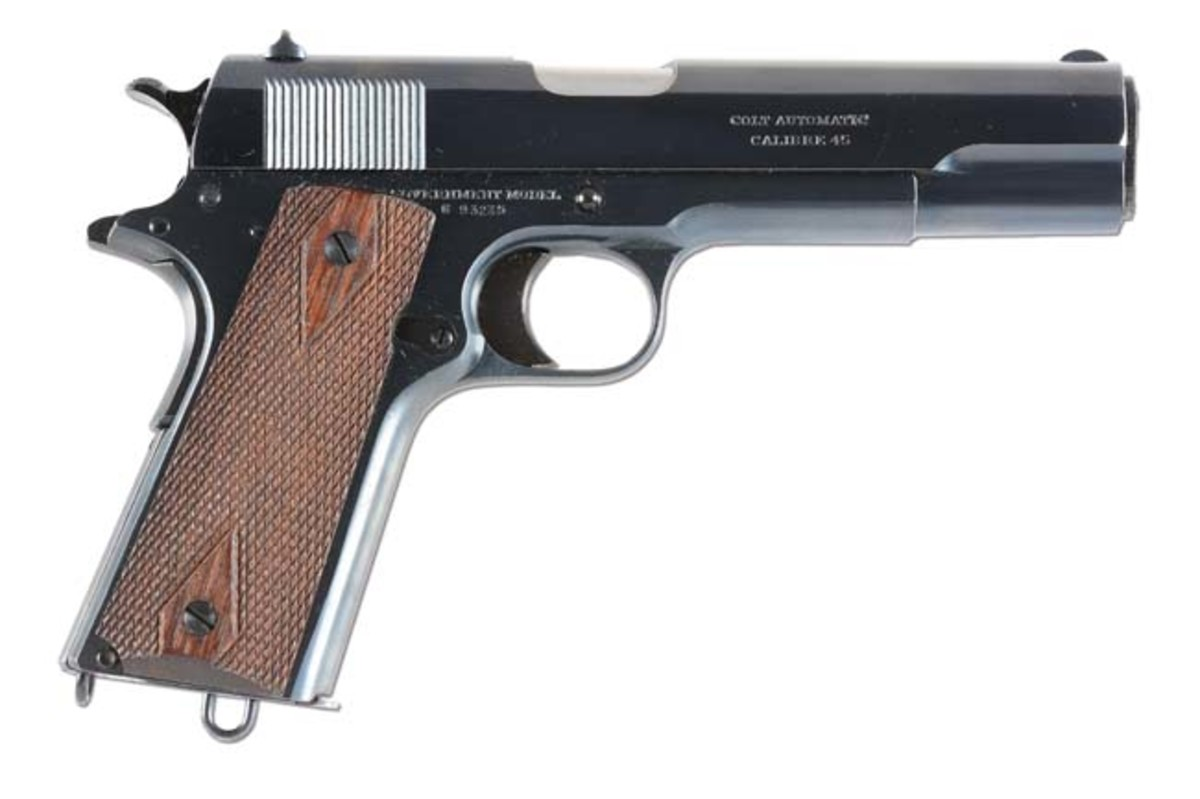 Near-new Colt Model 1911 Commercial .45 ACP semi-automatic pistol issued in 1917, with original box and accessories, $7,800