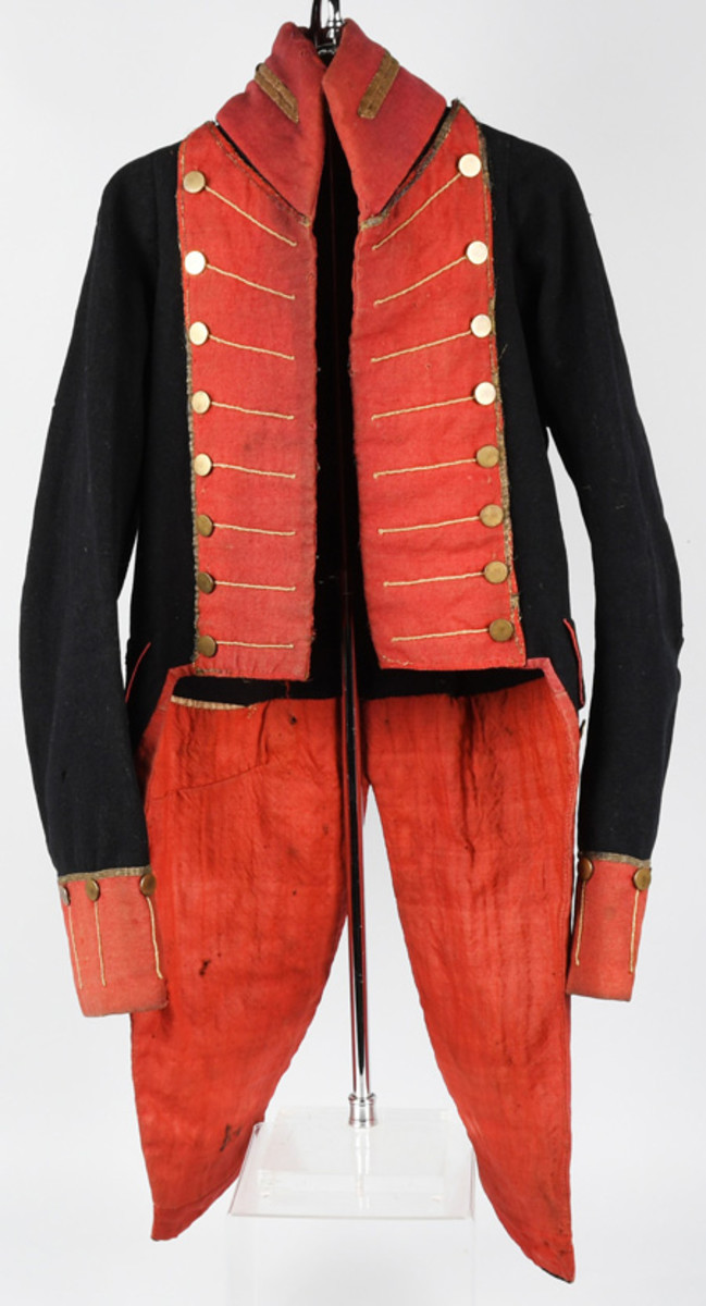 Pattern coatee of the type worn by both volunteer and militia units before and during the War of 1812, $7,800