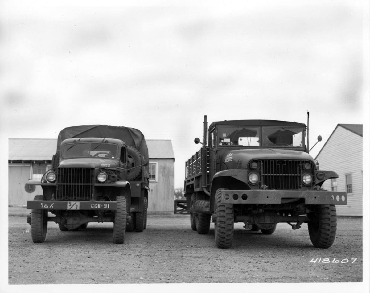 "Not a ""pair of deuces!"" Rather, a WWII ""Jimmy"" on the left and a 1950s M135 2-1/2-ton truck on the right. Courtesy of the National Archives"