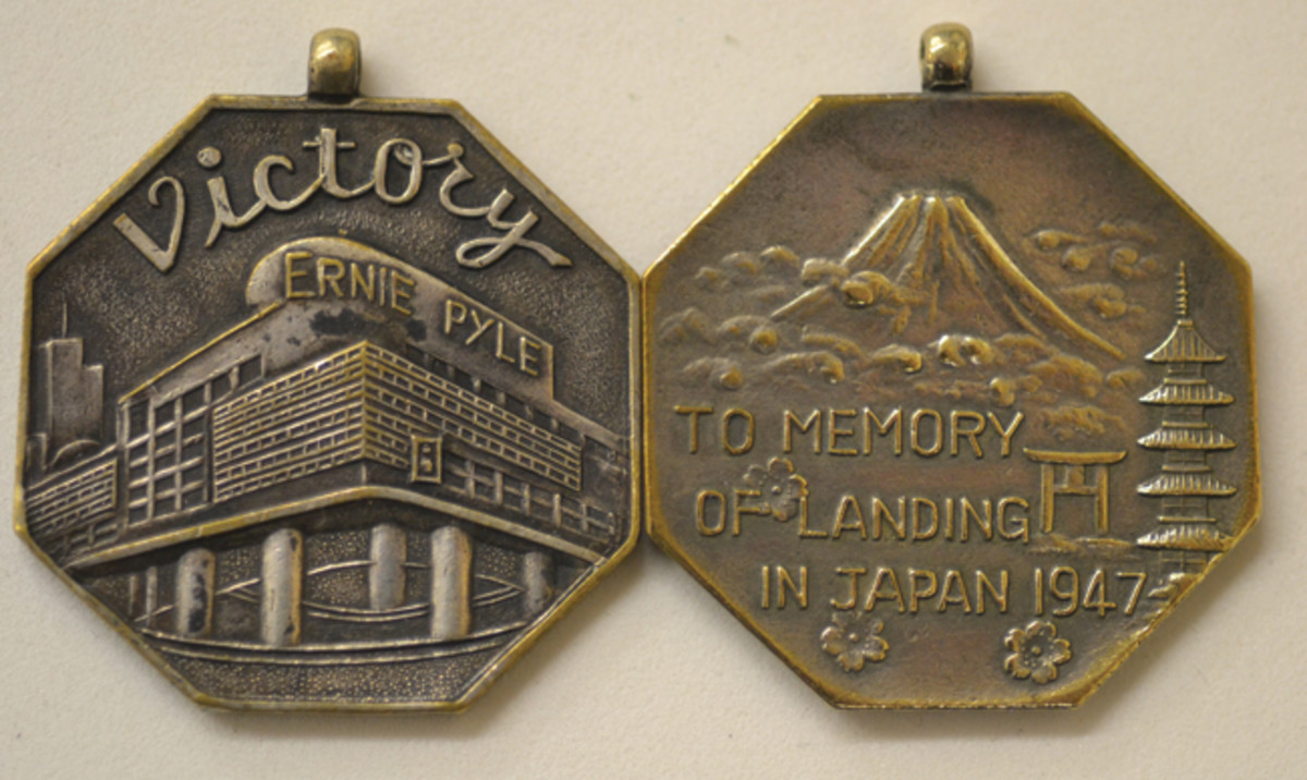 The hexagonal design appeared in the years of 1947-1949, and utilized the same design themes as the earlier, circular Ernie Pyle Theater medals.