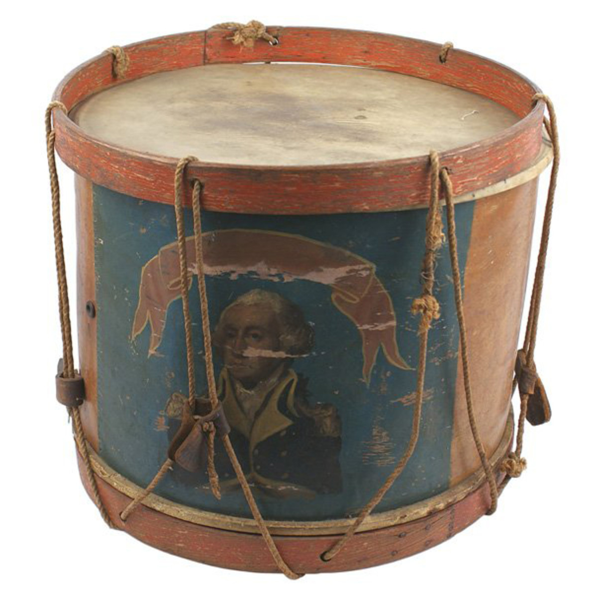 Pre-Civil War-era snare drum with basswood body and painted portrait of George Washington ($1,763).