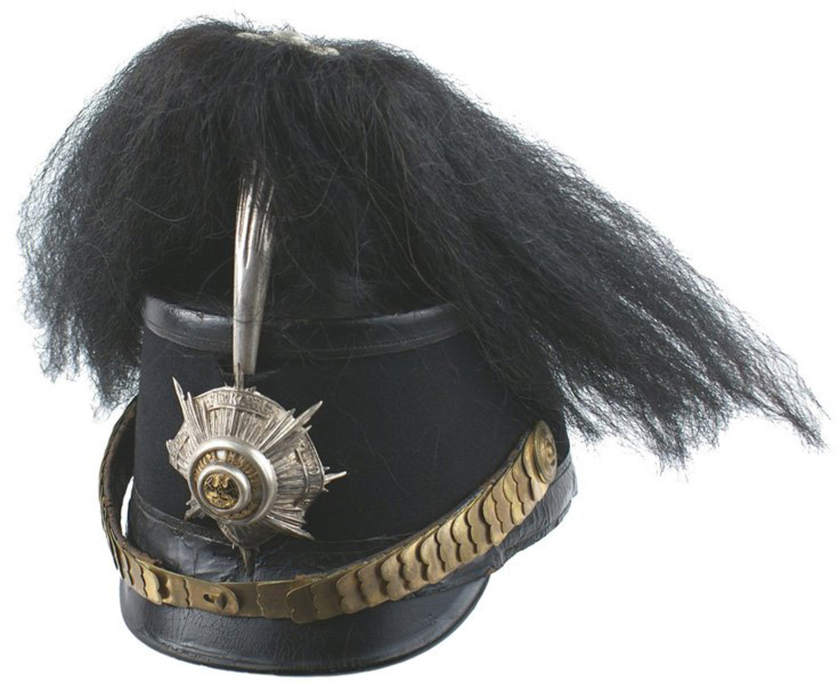 Personal Garde Jager shako (leather helmet) once owned by Germany's Kaiser Wilhelm ($13,750).