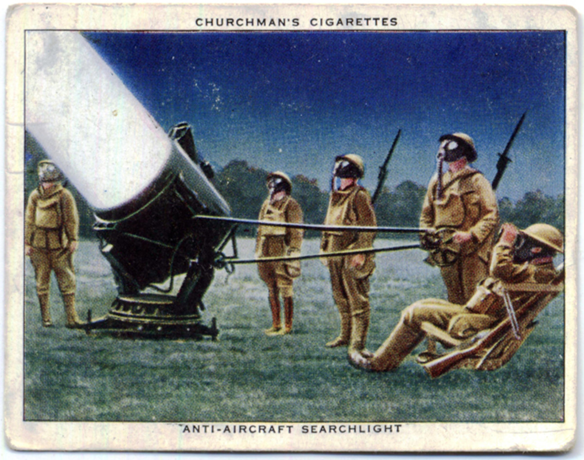Churchman's Cigarette card showing a searchlight in action.