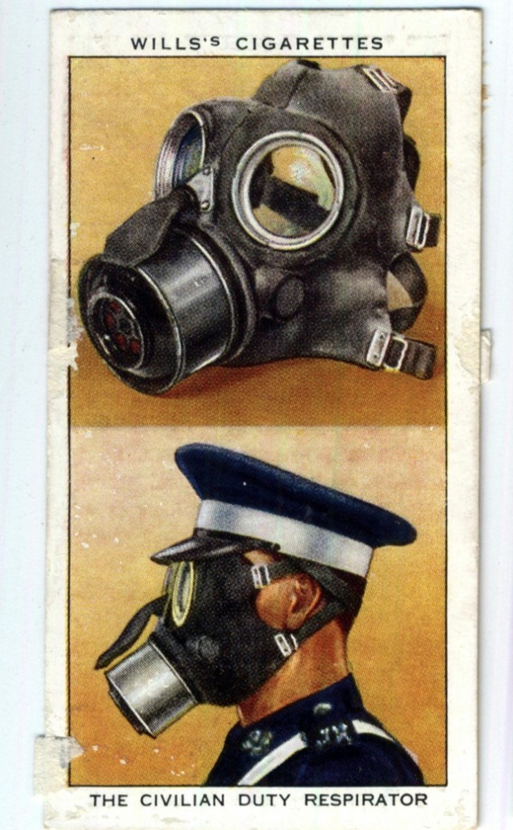 Will's Cigarette Card showing gas masks.