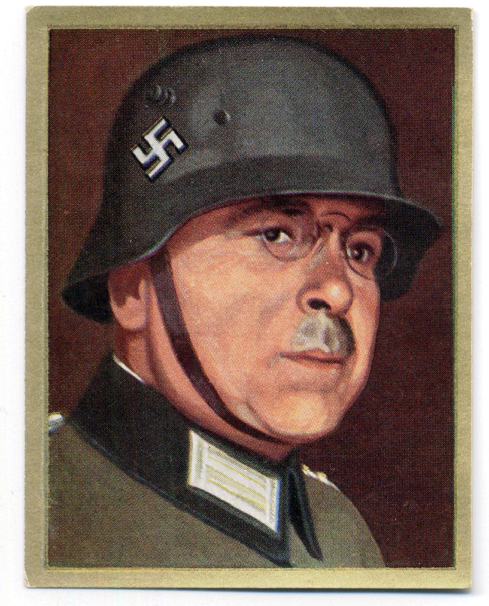 Cigarette card showing Police General Walther Wede  in a WWI-style steel helmet with swastika painted on side in white.