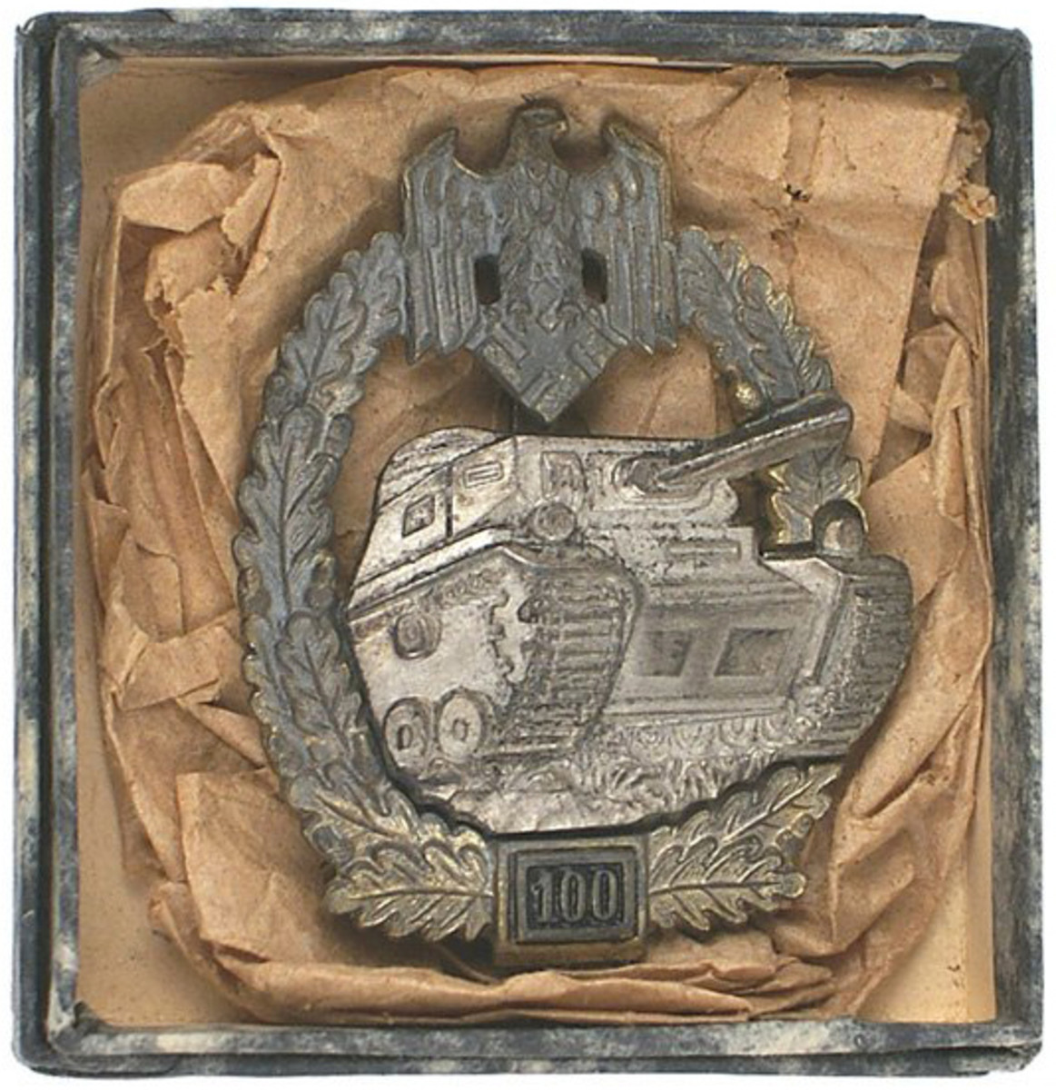 German World War II Panzer assault badge, awarded for 100 military engagements ($9,000).