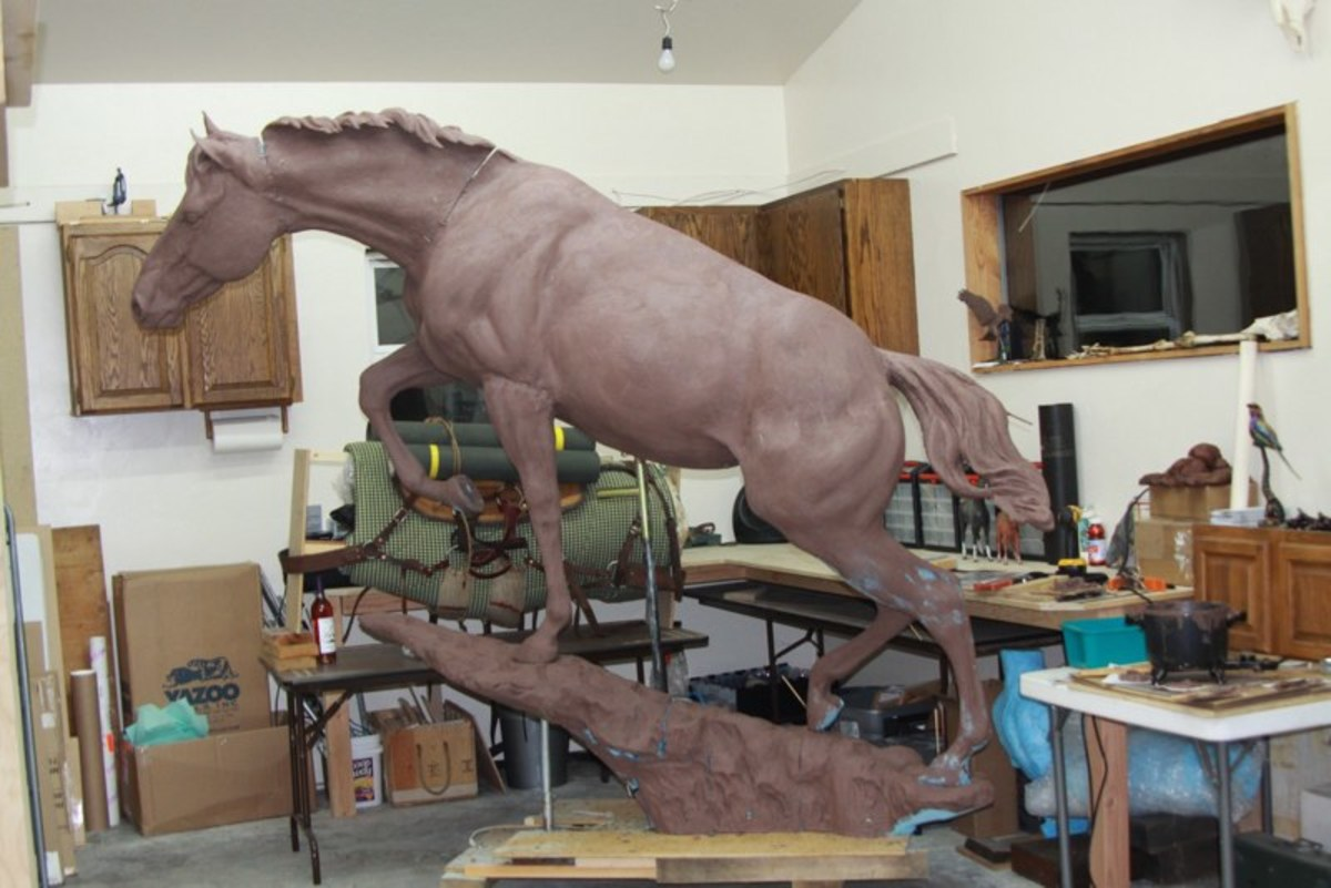 A photo of work in progress taken from Jocelyn Russell's studio working on the monument.