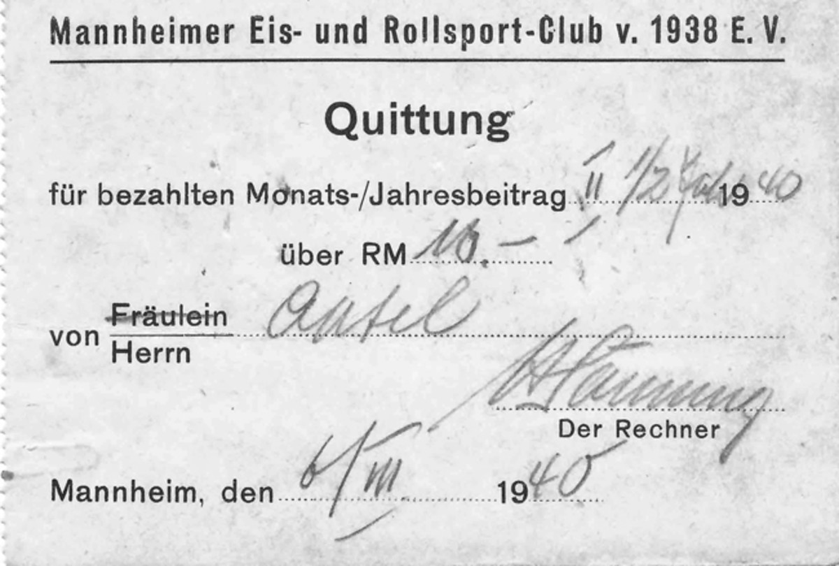 Mannheim Ice and Roller Skating Club Dues Receipt.