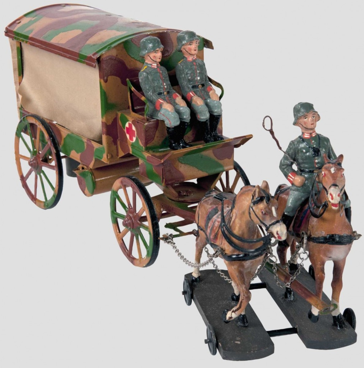 Vehicles are often more affordable than you may think. This 10cm-series horse-drawn ambulance made by Hausser sold for about $450. Courtesy of Hermann-historica.de