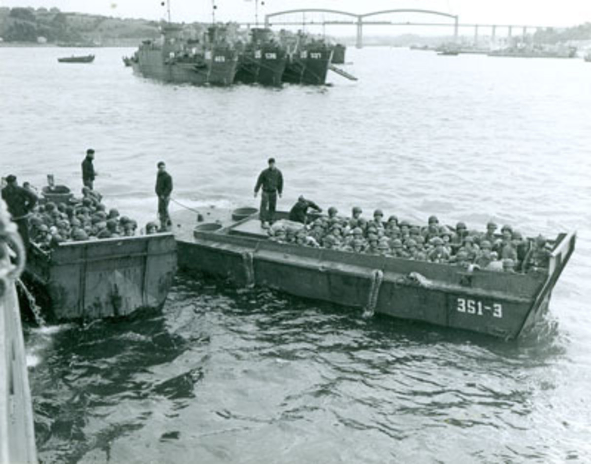 U.S. soldiers are pictured in the amphibious landing crafts used during the storming of Omaha Beach on D-Day, June 6, 1944. Photos courtesy Hemswell Antique Center.