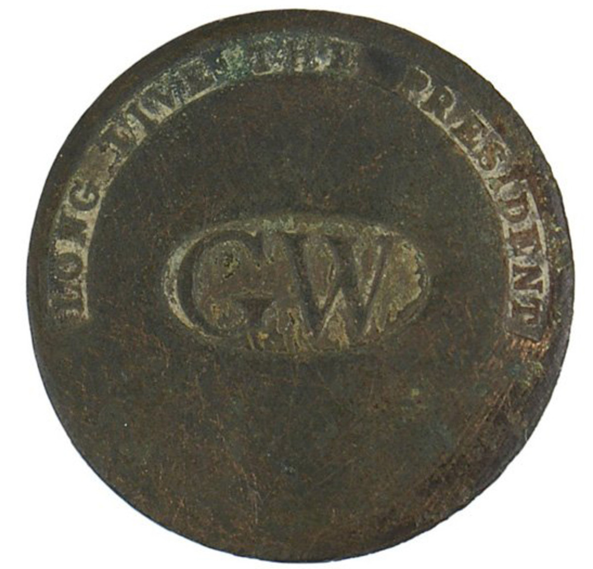 Actual flat copper button from the inauguration of President George Washington ($1,645).