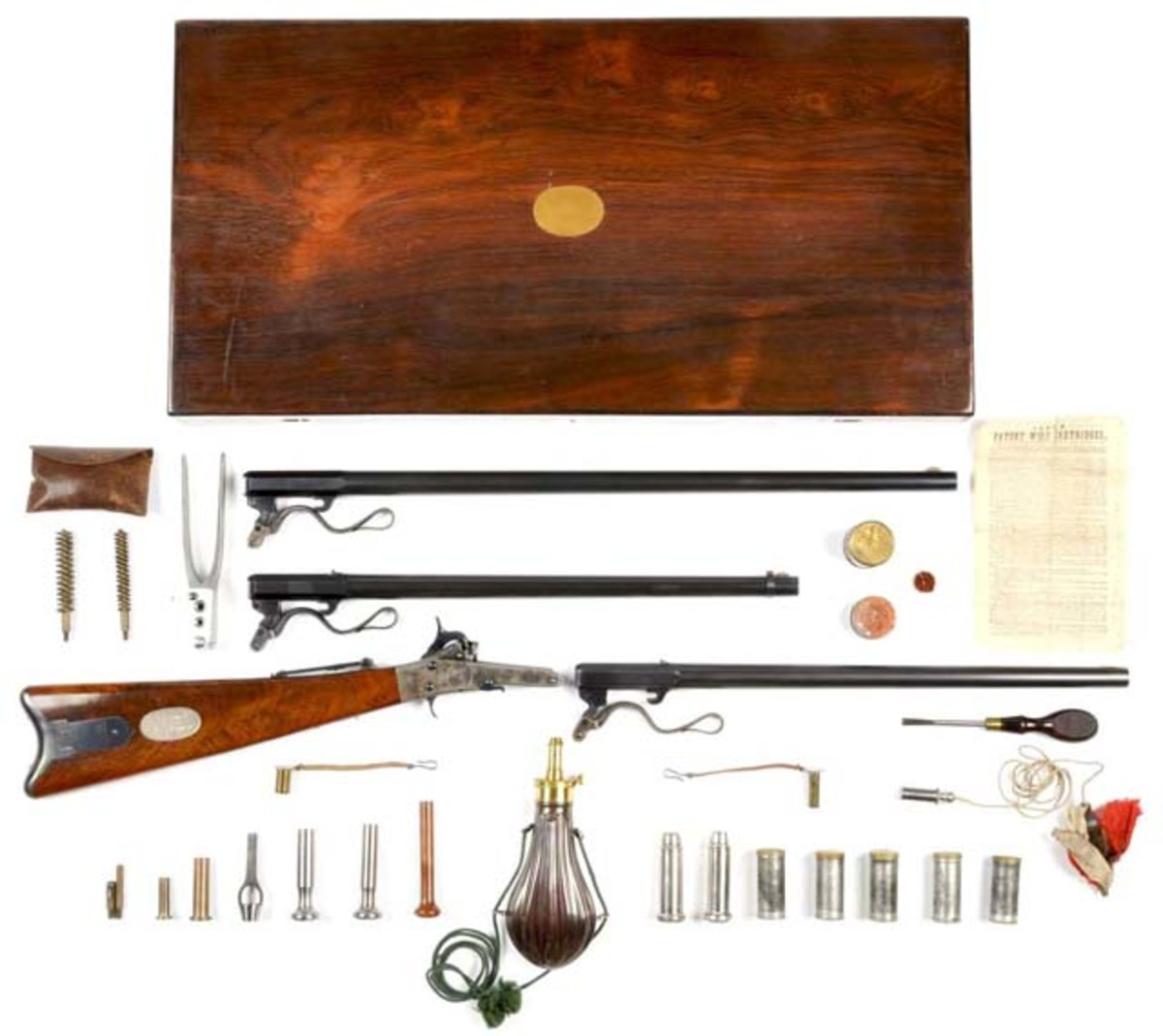 Presentation Maynard cased, multiple-barrel sporting rifle, Civil War era, estimate $20,000-$25,000. Morphy Auctions image