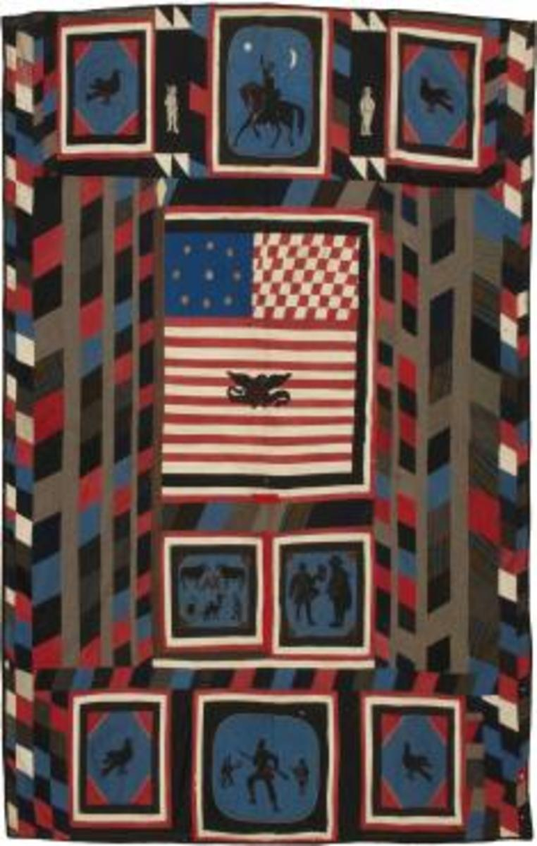 "Made for ""AK"" in Pennsylvania by an unidentified quiltmaker, this textile illustrates the life of a Zouave soldier. It includes fabrics used by seamstresses at the Schuylkill Arsenal in Philadelphia to make Zouave uniforms. ""AK"" may have been Adam Keller or Albert Keen, both of whom served with the 88th Regiment, Pennsylvania Volunteers, which boasted two companies of Zouaves. Collection of Kelly Kinzle."
