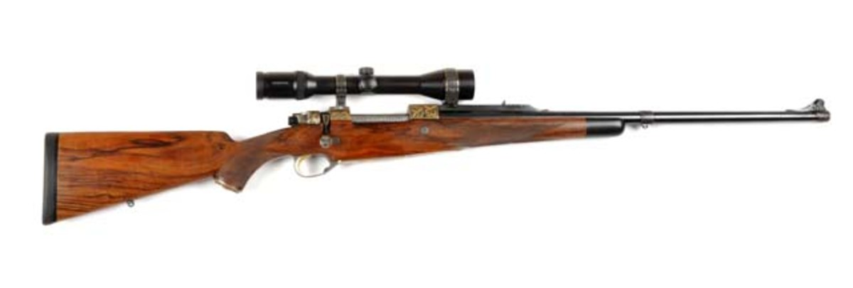 Ernest Dumoulin (Belgian) Deluxe Sporting Rifle, superior quality, custom-built by Dumoulin himself, estimate $25,000-$40,000. Morphy Auctions image