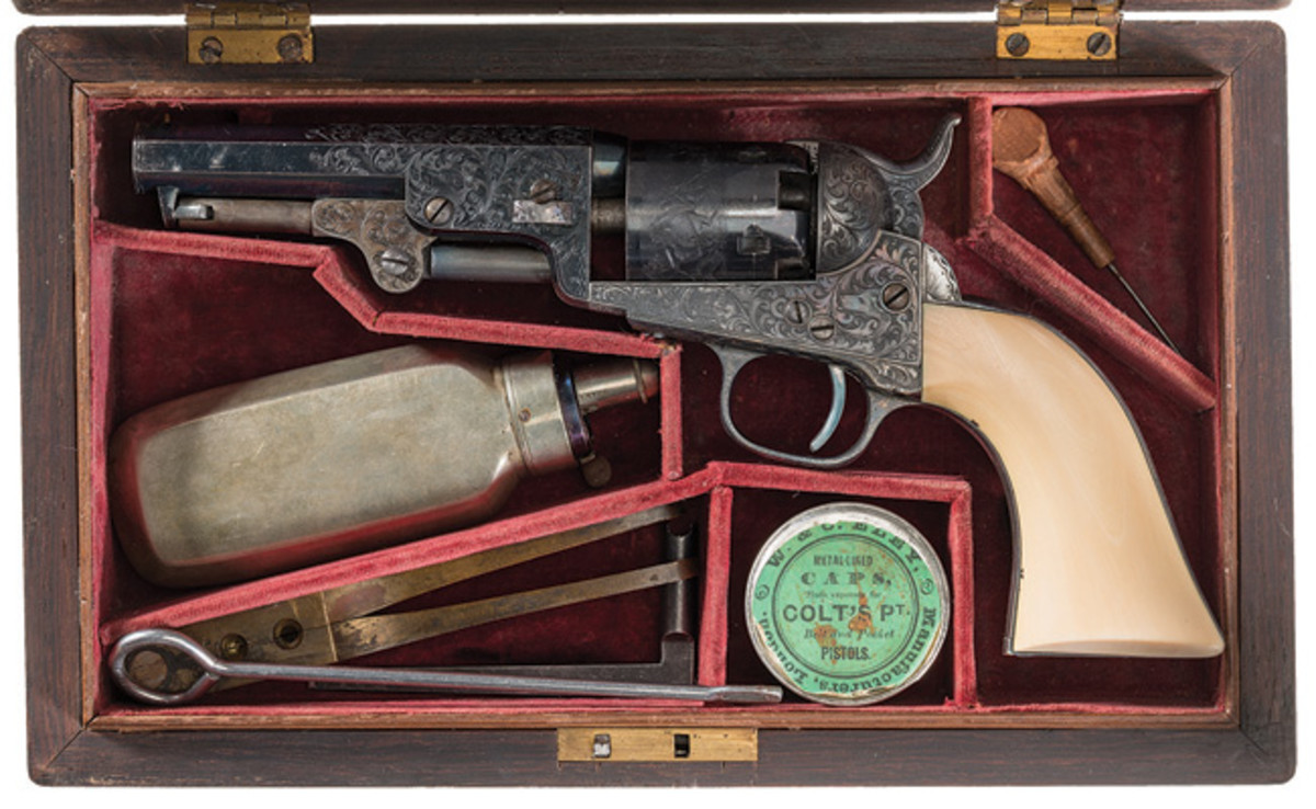 Spectacular Historic Presentation Cased Factory Engraved Colt Model 1849 Pocket Percussion Revolver Inscribed to Latter Day Saint Leader and Utah Territory Governor Brigham Young