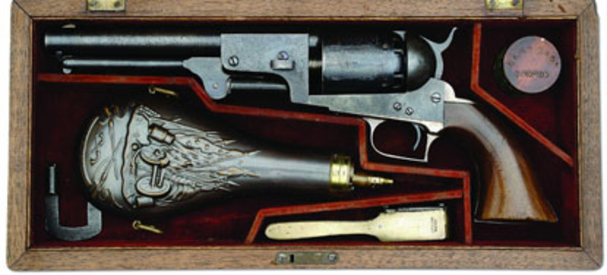 "ECased 1st Model Colt Dragoon percussion revolver identified to C.H. Bowman of the Tampico Rangers ""Veteran of Mexican War."" (Dr. John & Margaret Pickup Collection) SOLD $181,125"