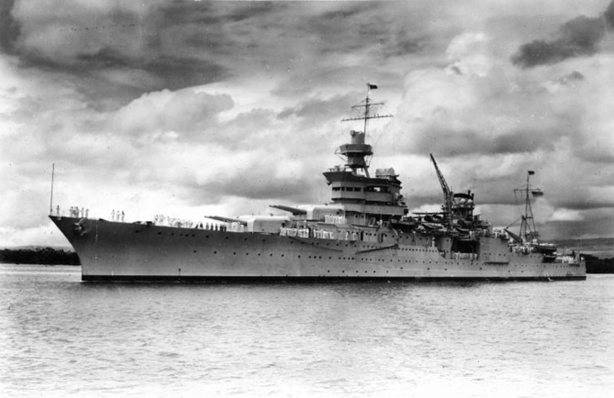 USS Indianapolis (CA-35) at Pearl Harbor, circa 1937. (U.S. Naval Historical Center Photo)