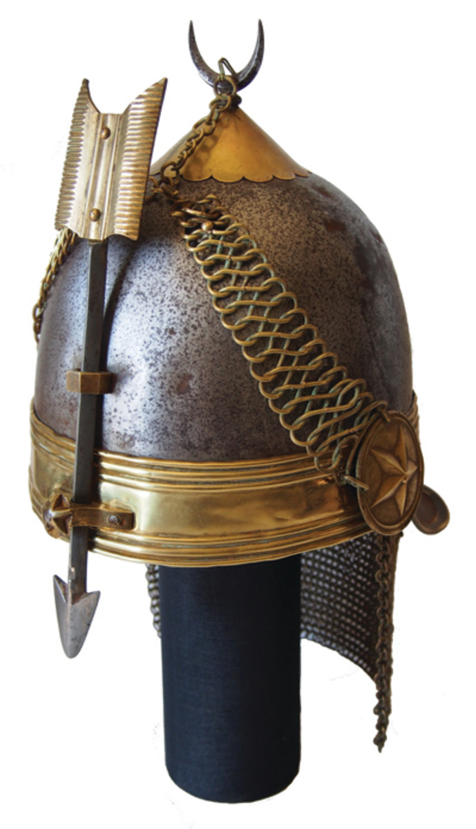 Helmets with spikes had long been a part of Indo-Persian culture dating back to the Middle Ages, but in the 1880s this was to go full circle when the elite units of the Persian army were outfitted with European style shakos with spikes on top! It was an attempt to truly link the past with the present, even if the result was not exactly attractive.