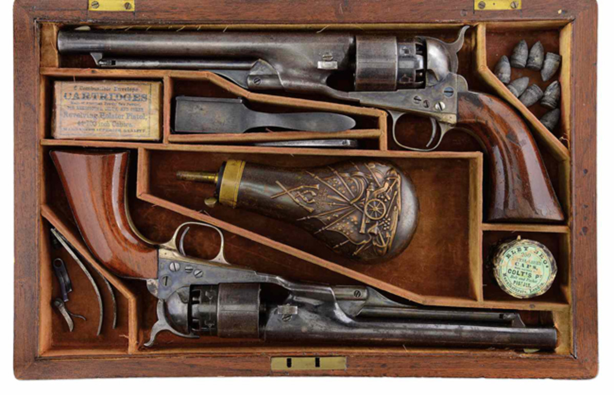 "Lot #3143, Cased Set of M 1860 Colts presented to James Cameron, Commander of the 79th N.Y. Highlanders, KIA at Bull Run. The guns were inscribed to ""Col. James Cameron with compliments of Col. Colt"". Cameron was the brother of Simeon Cameron, Lincoln's Secretary of War who also received a set from Col. Colt. These historic and important rarities carry an estimate of $100,000-150,000."