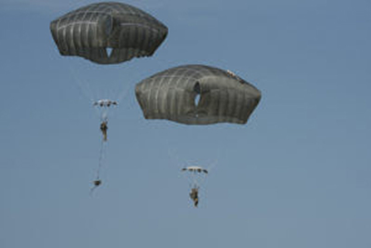 "During operational testing at Fort Bragg, N.C., ""Black Falcon"" Soldiers of Headquarters and Headquarters Battery, 2nd Battalion, 319th Field Artillery Regiment, perform a combat equipment jump with the new Joint Effects Targeting System (JETS). Once on the ground, they will test to make sure the JETS still functions. (U.S. Army file photo)"