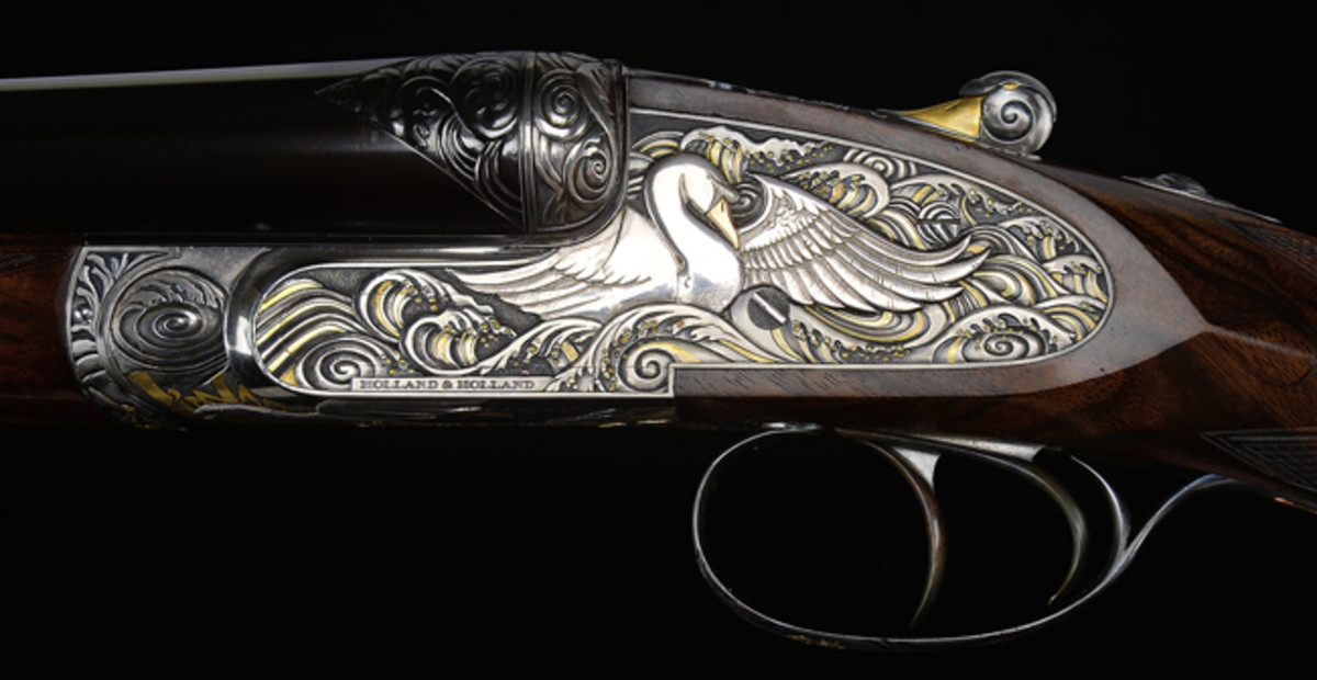 "Holland & Holland ""Royal"" Hammerless Ejector 12 Gauge Masterpiece Shotgun, Known as ""The Swan Gun"" with Multi-Colored Gold Inlaid High Relief by Rashid El Hadi"