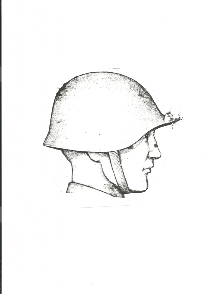 The Model 5 in an illustration likely by Larry Sutherland. The detail of the helmet was captured quite well in this drawing