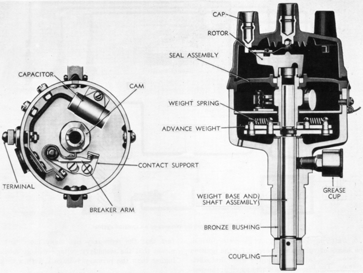 A modern distributor's centrifugal advance is automatic and was calibrated at the factory for the type of vehicle in which the distributor was installed. Thus, a distributor meant for the 230 engine of a Plymouth car will not have the same centrifugal advance as a distributor meant for the same engine in a Dodge WC. This setting is controlled by the tension of springs, and unless one is really knowledgeable it's usually best not to mess with it. These springs are simple to replace, but if the wrong ones are installed it may degrade engine performance.