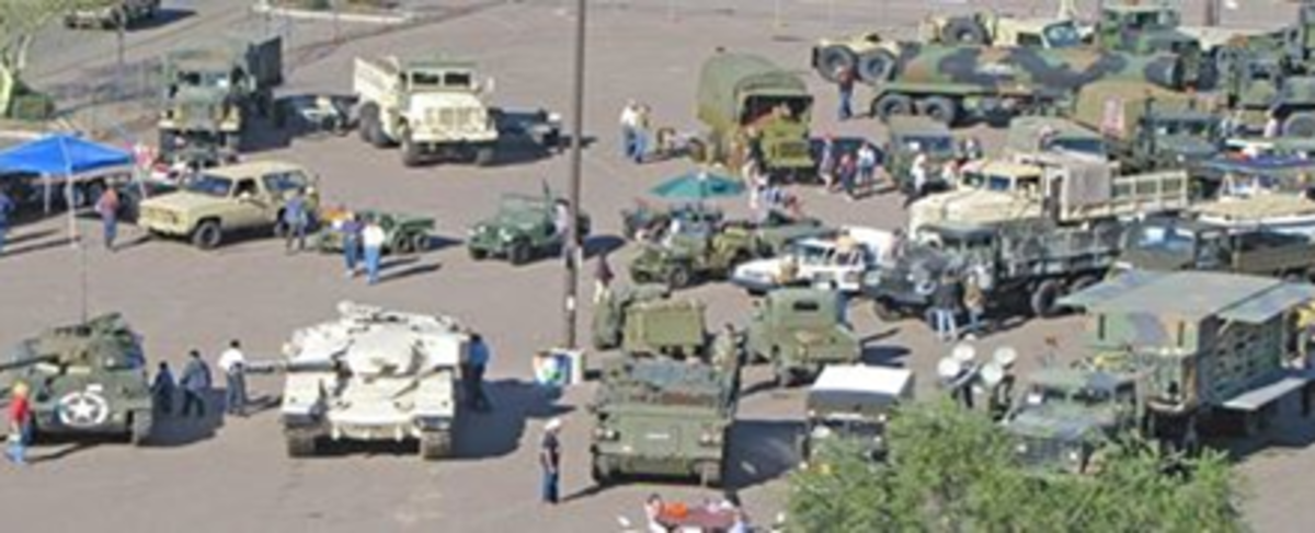 Aerial view of the 23rd Annual Military Vehicle Show (2013) covers only one quarter of the vehicles available on display.