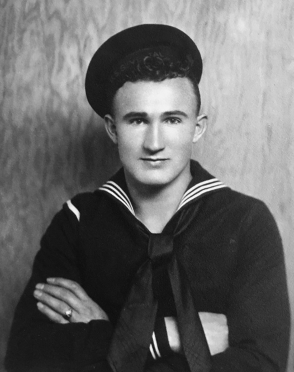 Chief Boatswain's Mate Joseph L. George from earlier in his career. After enlisting in 1935, George was assigned to the repair ship USS Vestal which was moored alongside USS Arizona (BB 39) when the Japanese attack began on Dec. 7, 1941. (Photo Courtesy of George Family/Released)