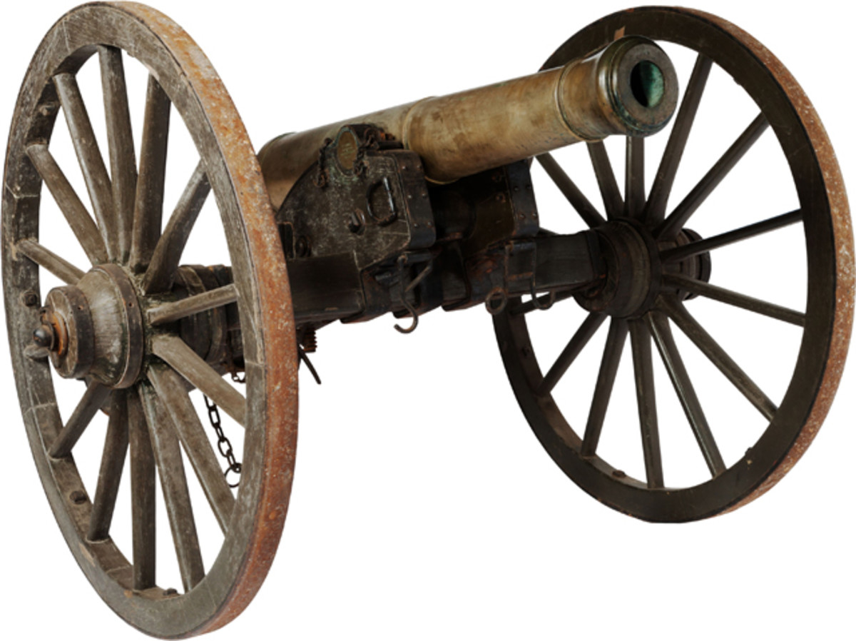 """Bronze, U.S. Model 1841 six-pound Field Gun dated 1847 on original No. 1 Field Carriage was recently sold by Heritage Auctions for $89,620 (includes buyer's premium). Boldly marked on the right trunnion face """"N. P. Ames J. W. R"""" by James Wolfe Ripley, the Ordnance officer who inspected this gun on May 5, 1847. The original No. 1 field carriage is stamped on the right side trunnion plate """"US. Watervliet Arsenal."""" Left side of the plate is stamped """"No. 396"""" and dated """"1857."""" A complete original No. 1 carriage is very rare and seldom seen on today's market. The gun was accompanied by a full complement of period gunner's implements including two rammers and sponges, worm and trail spike."""