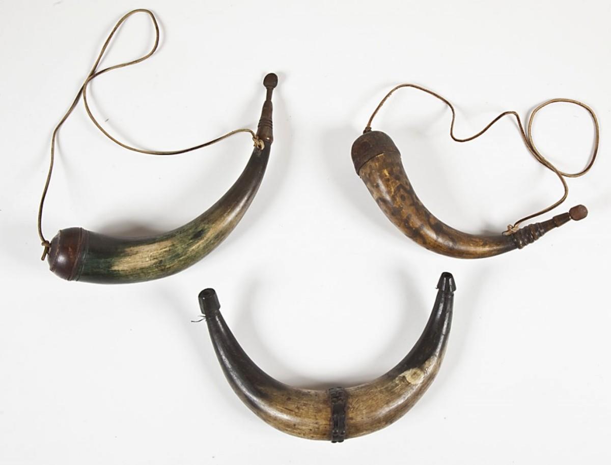Lot of antique powder horns ($1,000)