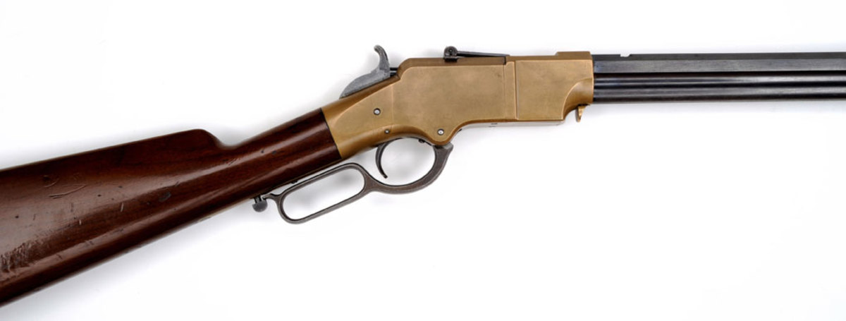 1860 Henry lever action with brass patina and much original blue remaining. (Wes Adams Estate Collection) SOLD $109,250