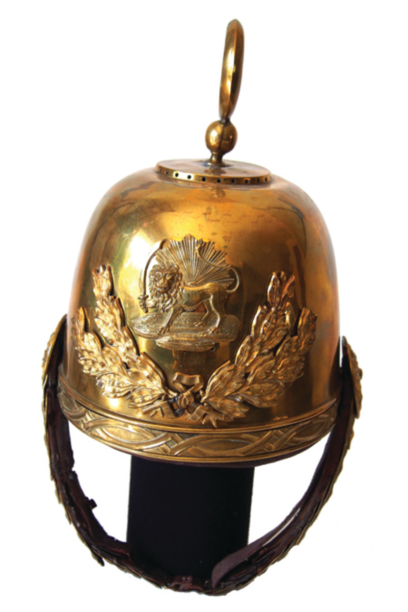 The Qajar Guard Helmets were made in Paris at the end of the 19th century for the Egyptians, but due to the changing political client in the Khedivate these helmets were refurbished and sold instead to the Persian Qajar dynasty. (Collection of the author)