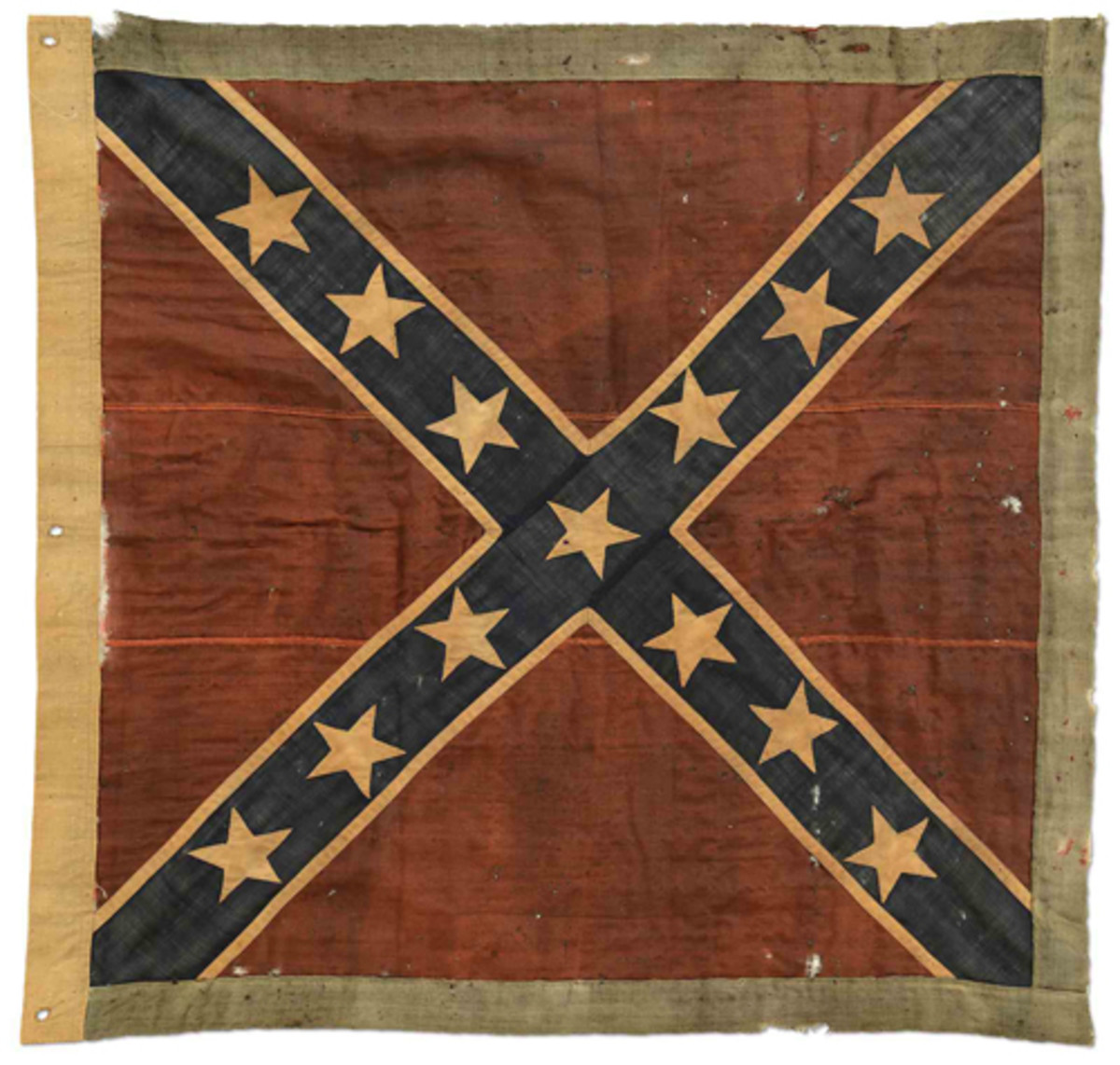 Lot #3354, the unique Army of Northern Virginia Battle Flag of Confederate Marines under Robert E. Lee. This great rarity was formerly in the Mariners Museum in Wilmington, NC. It was captured at the Battle of Sailor's Creek. Estimate: $125,000-250,000.