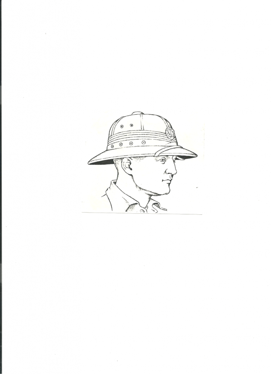 The American pressed fiber helmet in an illustration likely done by Sutherland. Very little has been written on the subject of these helmets, so it is a shame Tubbs' research on these helmets has been lost