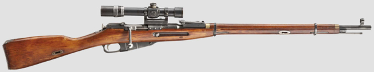 A Russian Mosin-Nagant M 1891/30 sniper rifle, with ZF PE.