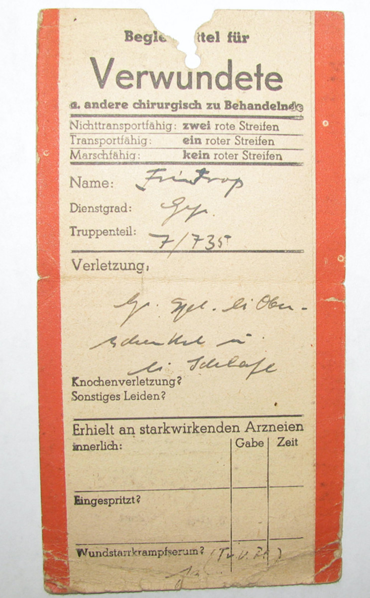 Johann Frintrop's triage tag from his wounds of August 1944.
