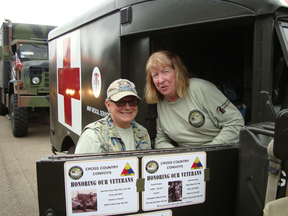 Ladies like to convoy too, and count about one third of participants: Jackie Neil and Sabra Seaborg are veterans of three convoys. Part of the convoy mission is to honor veterans and many vehicles display plaques with names and photos of loved ones. Willy Delmeier