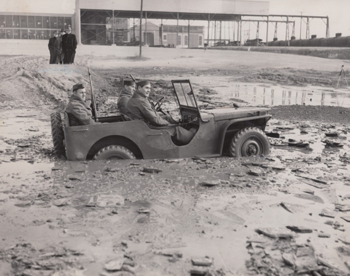 •The 1940 Ford Pilot Model GP-No. 1 Pygmy, during initial testing after delivery to the U.S. Army Quartermaster Corps at Camp Holabird in Baltimore on 23 November 1940.